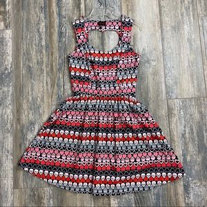 Size small A-line dress with hearts & skulls retro